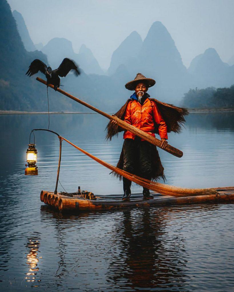 Pesca con cormoranes, China